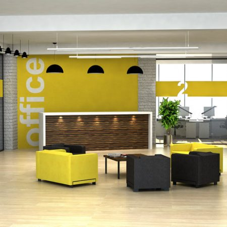 Yellow office, furnisture fit out, office design, office refurbishment, near London.