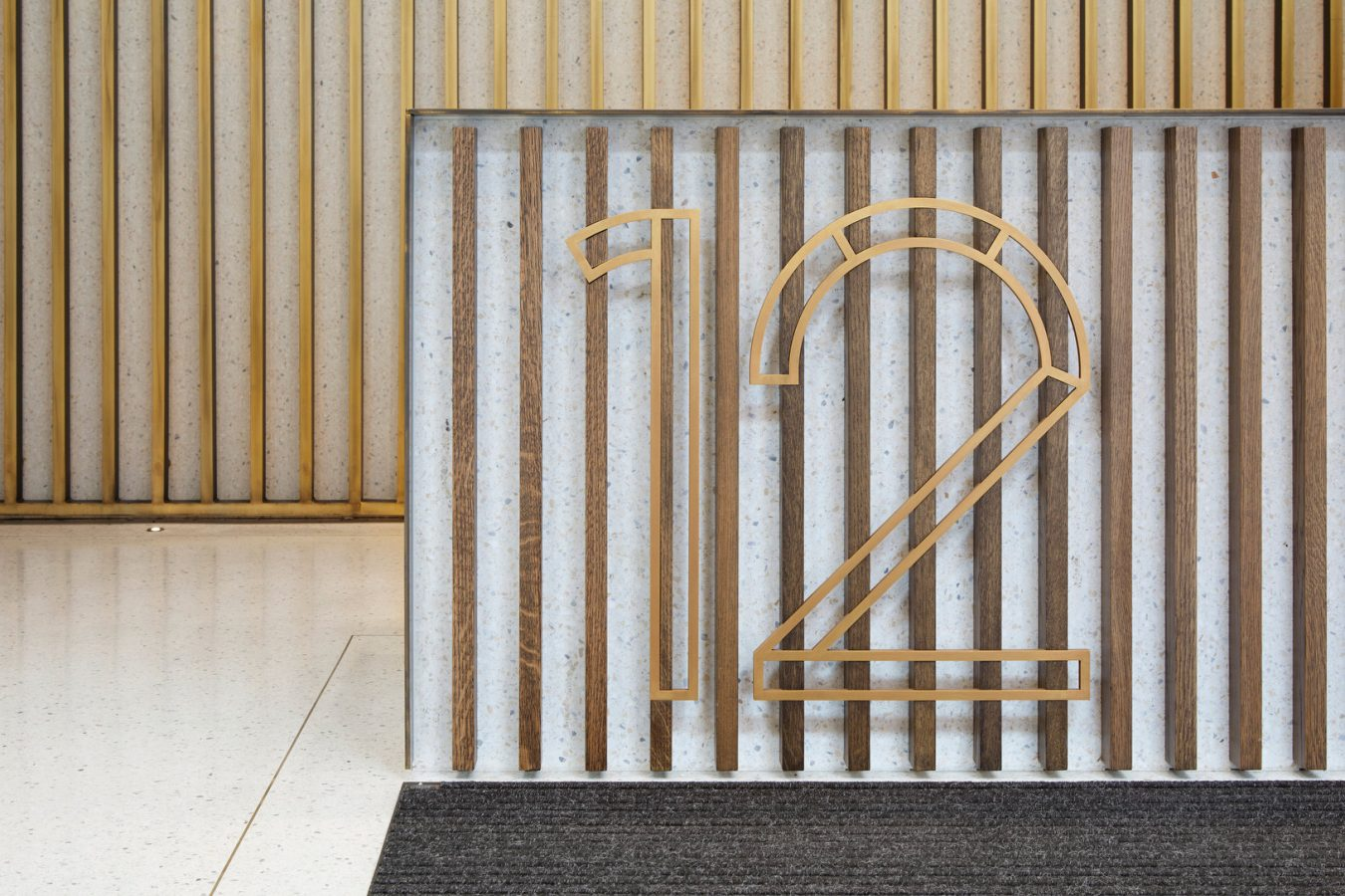 Metal number, timber bars for reception area near London