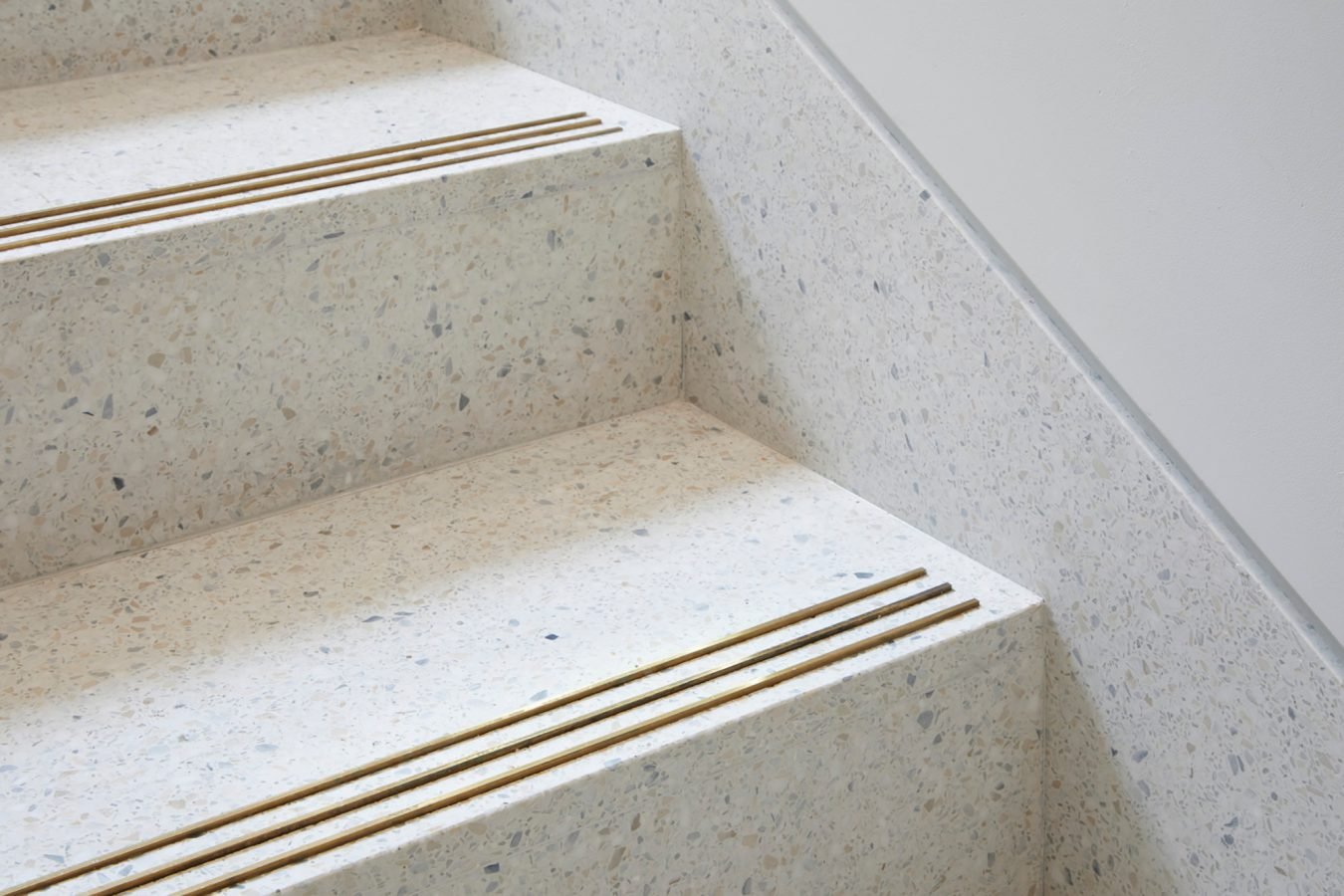 Marble stairs and gold details design for reception area near London