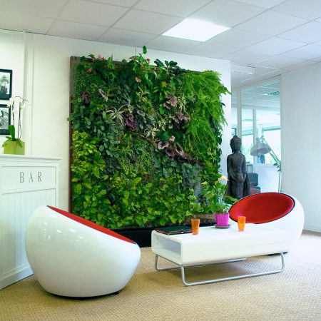 Alive interior wall, green wall, biophilic office design and pot plants, green space, near London.
