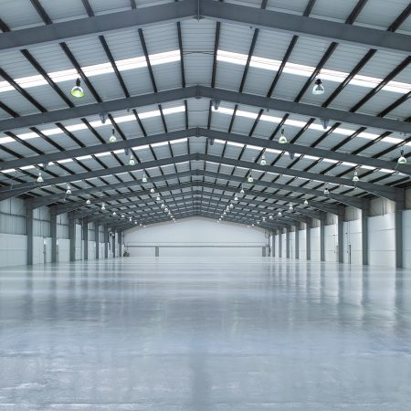 Full industrial refurbishment works on a warehouse roof and flooring near London.