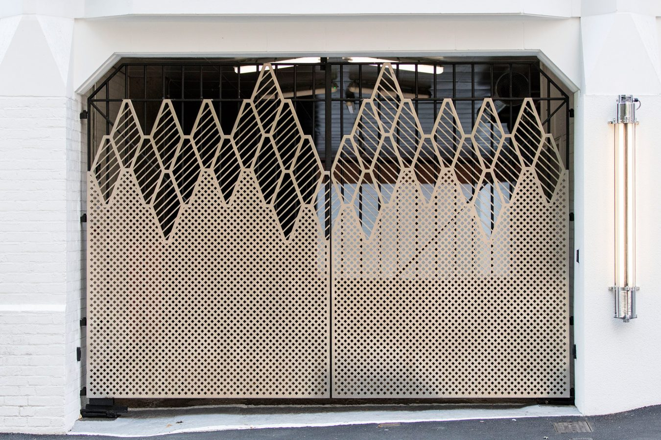 Refurbished mesh metal gates for Forbury Court in Reading