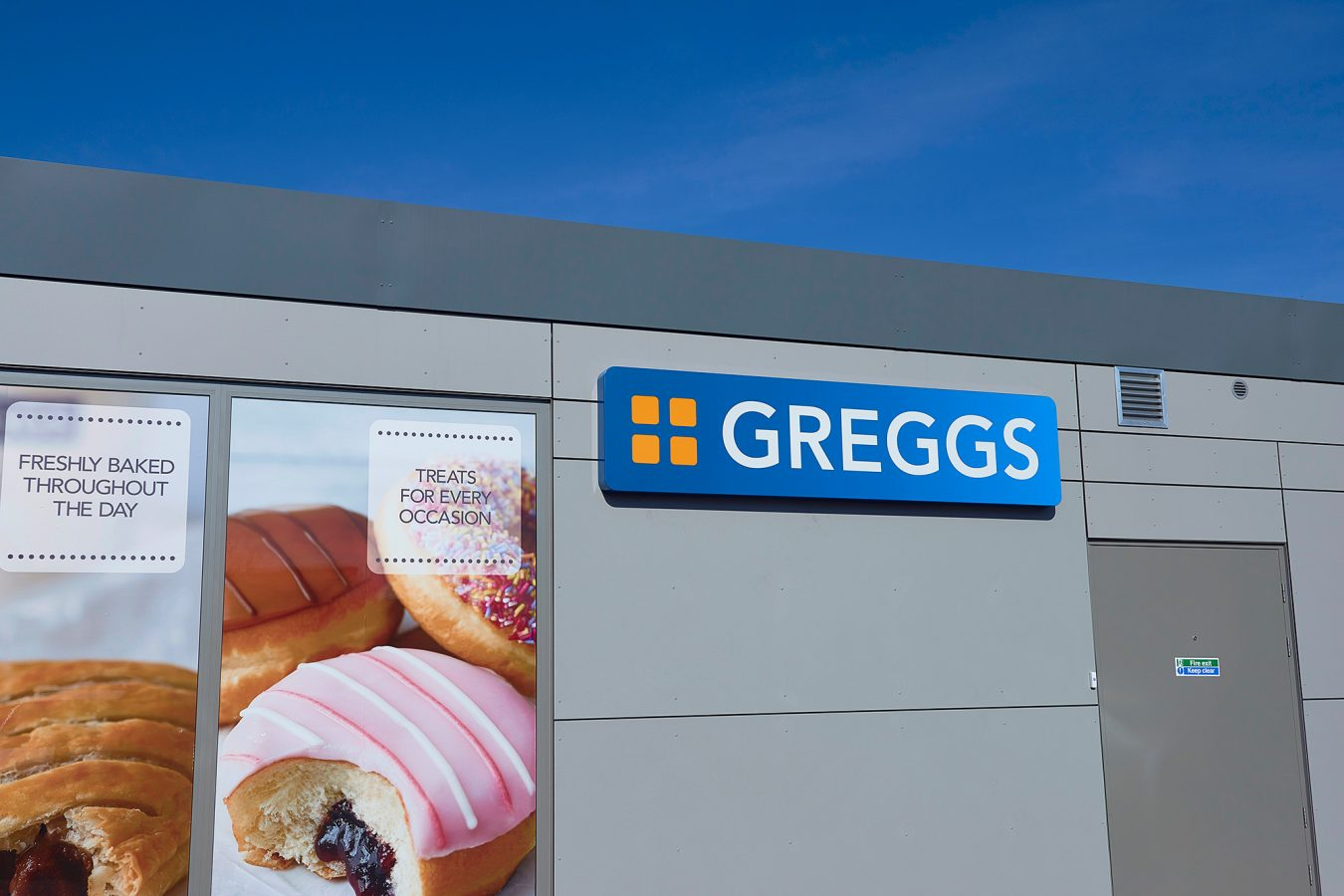 Greggs cladding refurbishment and Greggs sign.