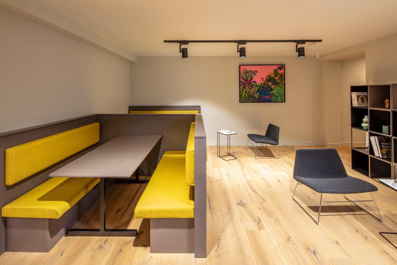 Yellow break out sofas near London.