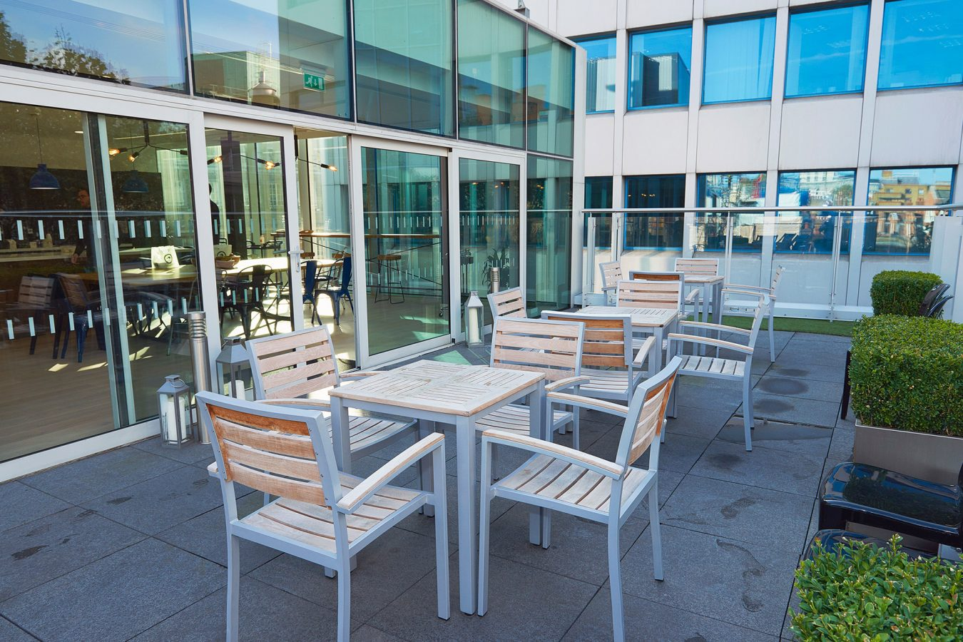 Outside office space, well-being environment, office seats and tables, breakout areas, fit out, near London.