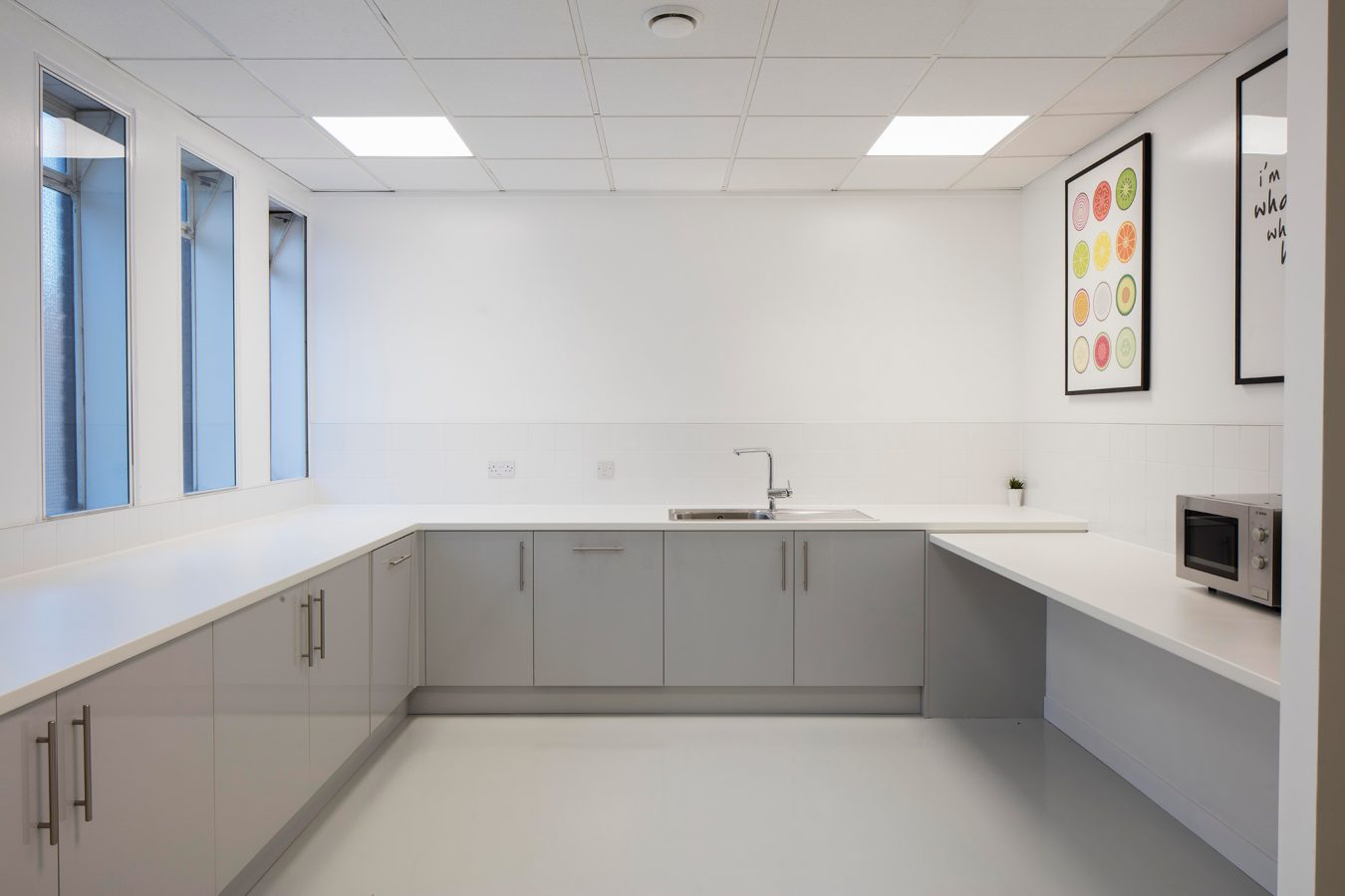 Kitchen fit out for refurbished offices near London.