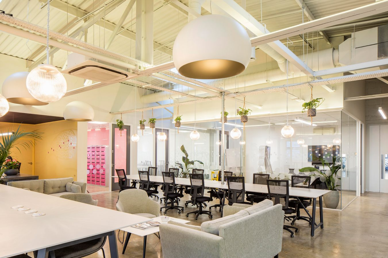 Office brake out area in neutral design to boost office well being..
