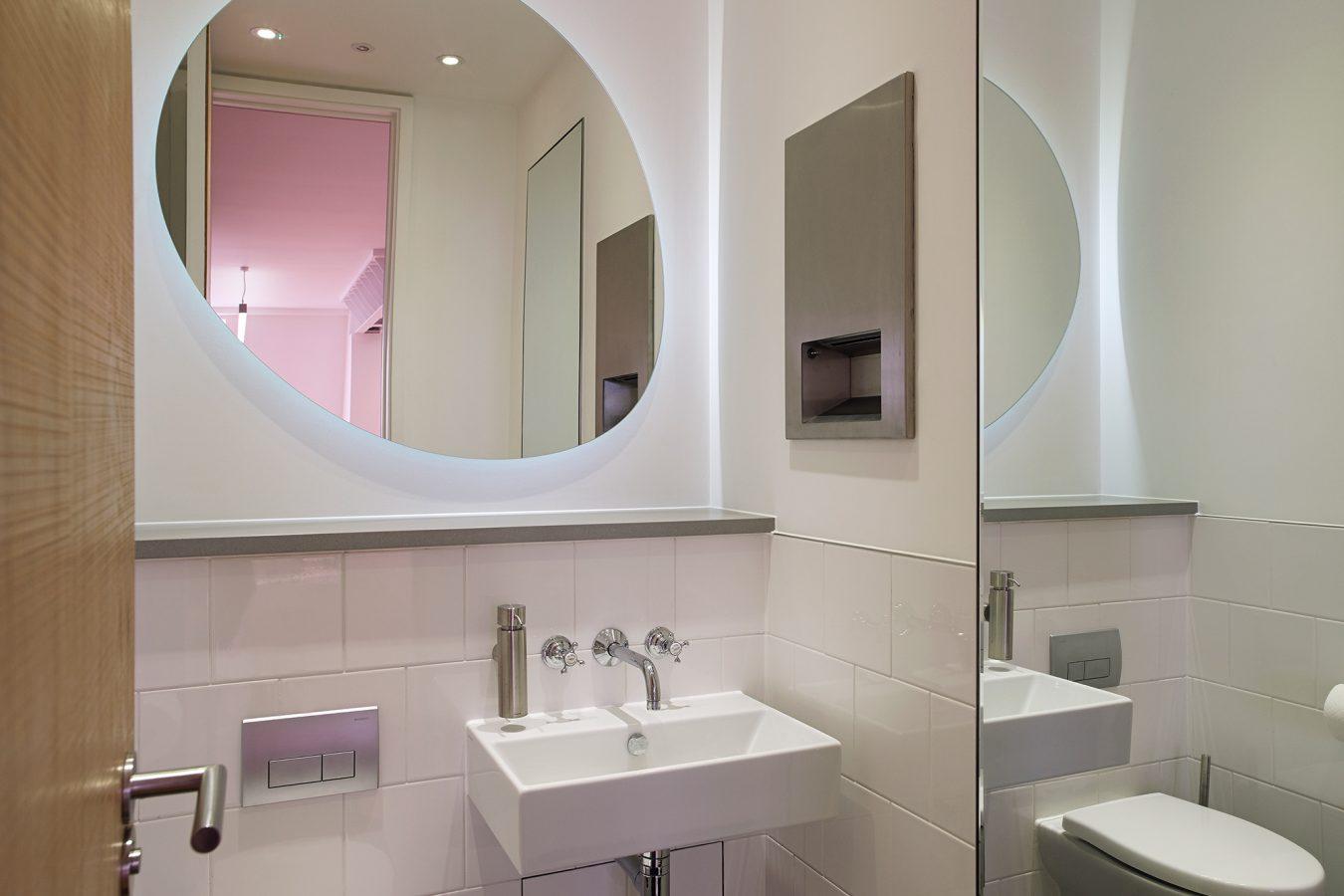 Modern office toilet in Diamond House.