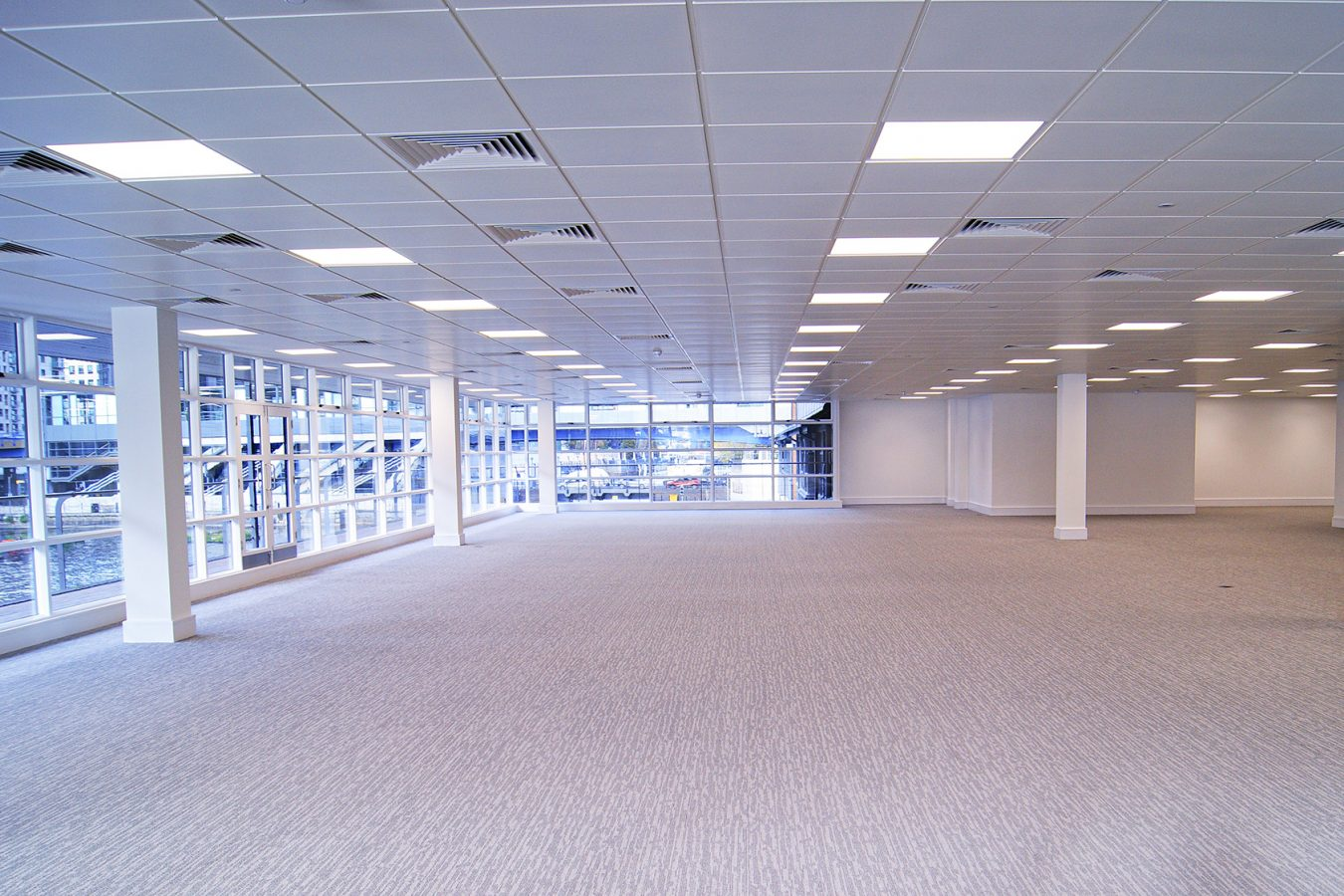 A Cat A office refurbishment in Harbour Exchange, created by Open contractors. Cat A worplace refurb