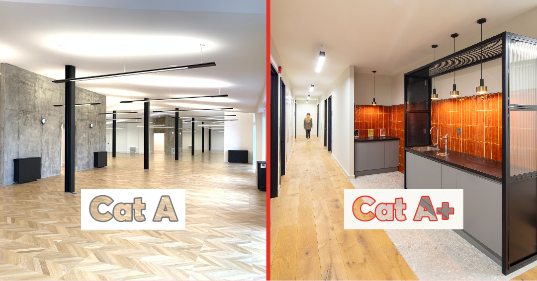 Cat A and Cat A+ schemes showcasing industrial style finishes of an interior space and tea points, in London, benefiting both the tenants and landlords.