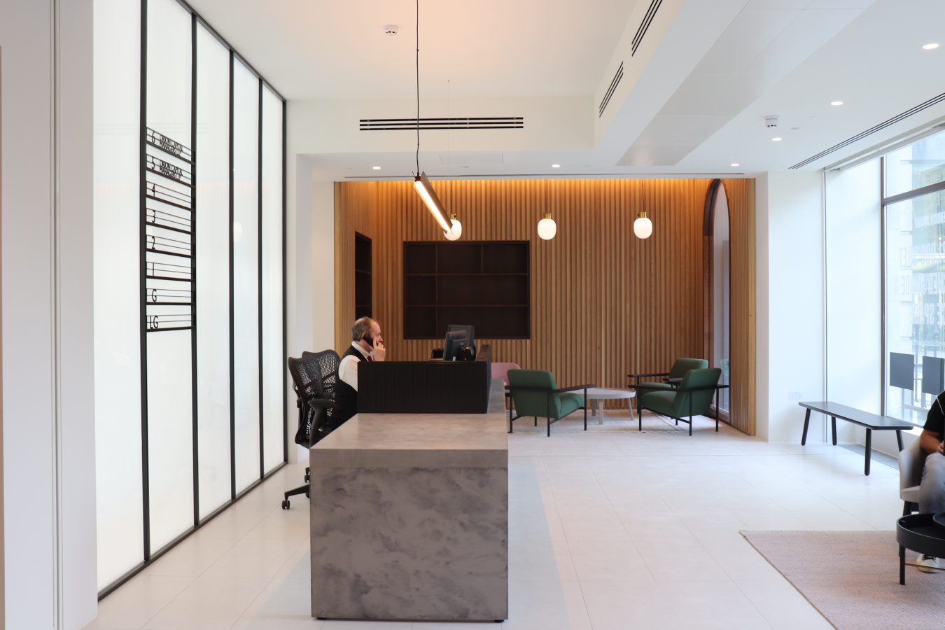 Major office fit-out and refurbishment of a reception space conducted by Open as main contractors at 2 Cavendish Square.